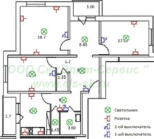 Схема электропроводки в двухкомнатной квартире кирпичного дома